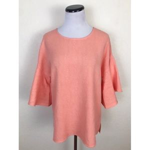 NWT Calvin Klein Textured Ruffle Sleeve Blouse Top